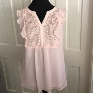 Pale Pink Ruffled Blouse